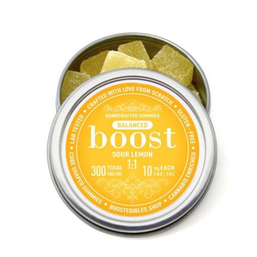 CBD THC Gummies Boost Edibles Sour Lemon